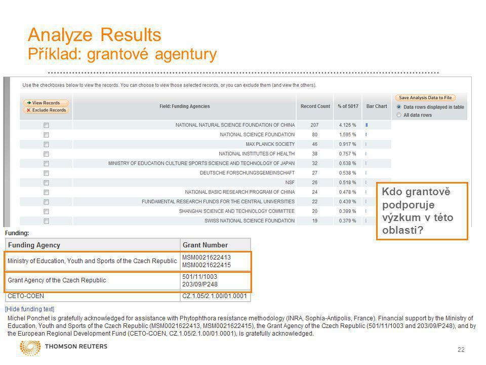 22 Analyze Results Příklad: grantové agentury Kdo grantově podporuje výzkum v této oblasti