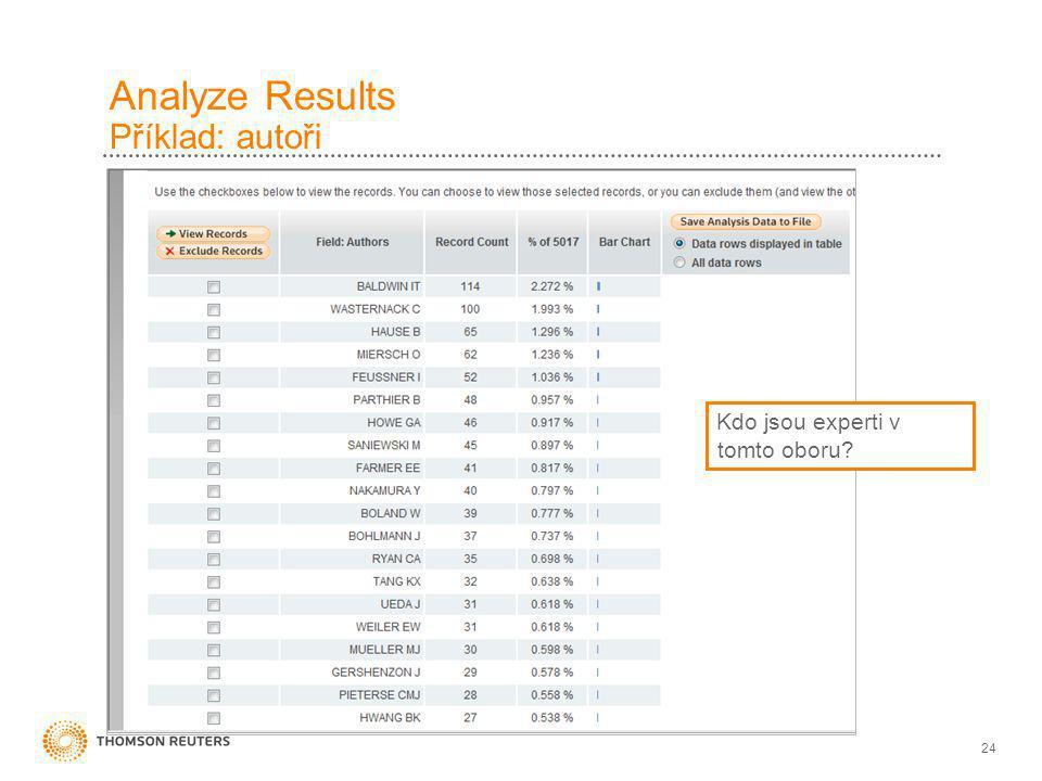 24 Analyze Results Příklad: autoři Kdo jsou experti v tomto oboru