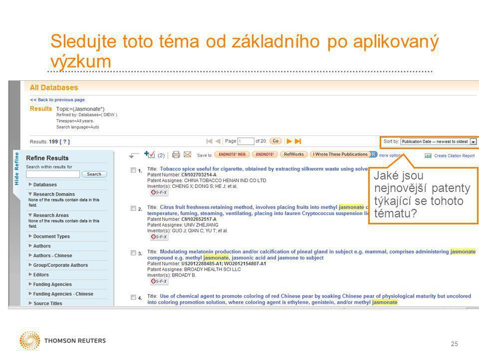 25 Sledujte toto téma od základního po aplikovaný výzkum Jaké jsou nejnovější patenty týkající se tohoto tématu