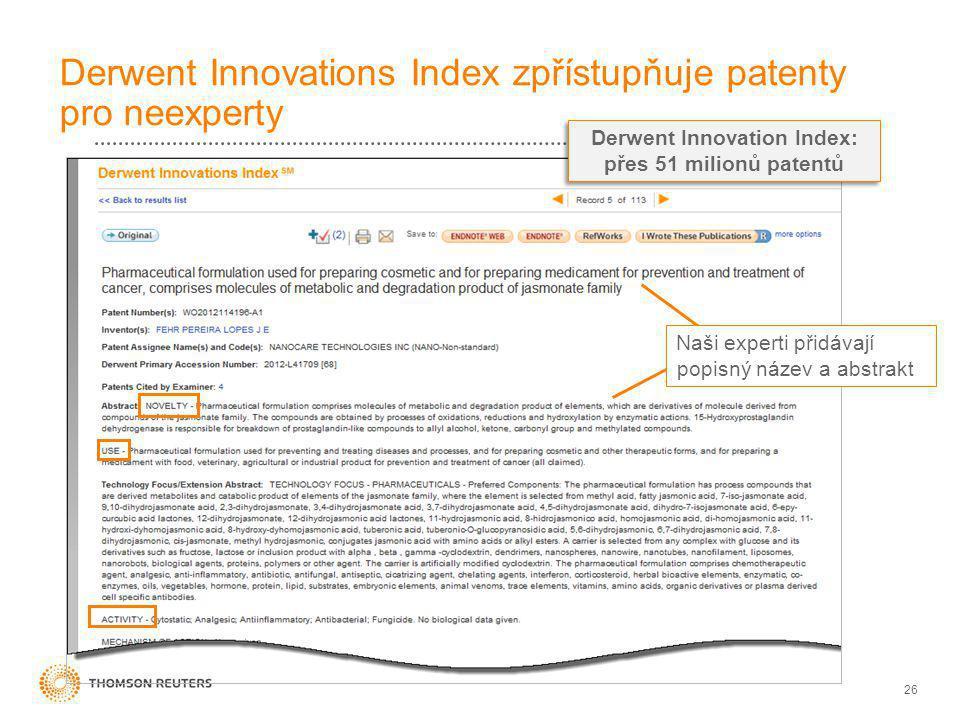 26 Derwent Innovations Index zpřístupňuje patenty pro neexperty Naši experti přidávají popisný název a abstrakt Derwent Innovation Index: přes 51 milionů patentů Derwent Innovation Index: přes 51 milionů patentů