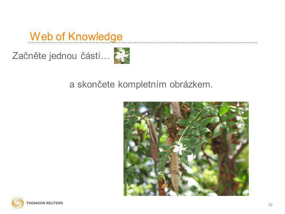 30 Web of Knowledge Začněte jednou částí… a skončete kompletním obrázkem.