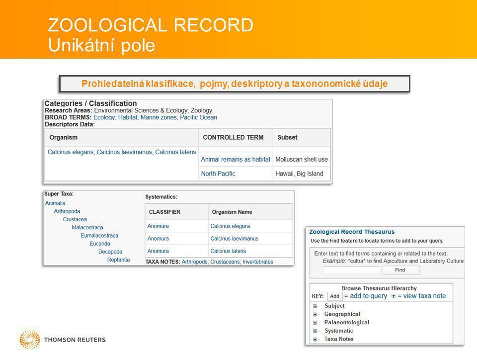 Unikátní pole Prohledatelná klasifikace, pojmy, deskriptory a taxononomické údaje