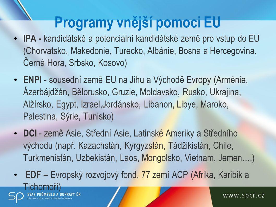 Programy vnější pomoci EU IPA - kandidátské a potenciální kandidátské země pro vstup do EU (Chorvatsko, Makedonie, Turecko, Albánie, Bosna a Hercegovina, Černá Hora, Srbsko, Kosovo) ENPI - sousední země EU na Jihu a Východě Evropy (Arménie, Ázerbájdžán, Bělorusko, Gruzie, Moldavsko, Rusko, Ukrajina, Alžírsko, Egypt, Izrael,Jordánsko, Libanon, Libye, Maroko, Palestina, Sýrie, Tunisko) DCI - země Asie, Střední Asie, Latinské Ameriky a Středního východu (např.