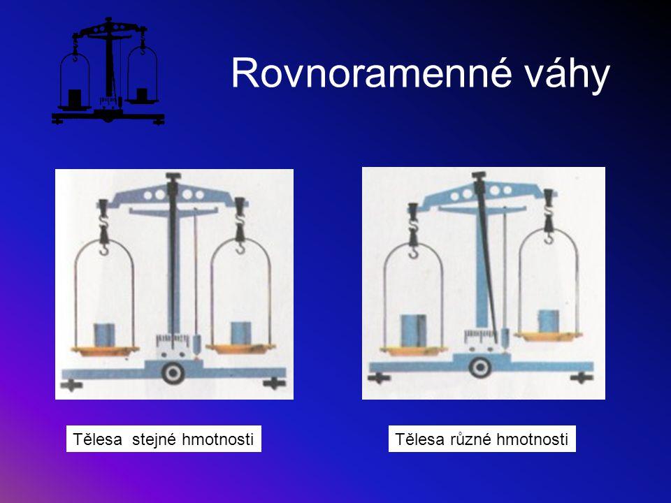 Vážení na rovnoramenných vahách Na jednu misku se dává měřené těleso Na druhou misku se kladou závaží, dokud nenastane rovnováha = jazýček vah je uprostřed stupnice Toto vážení je pracné.