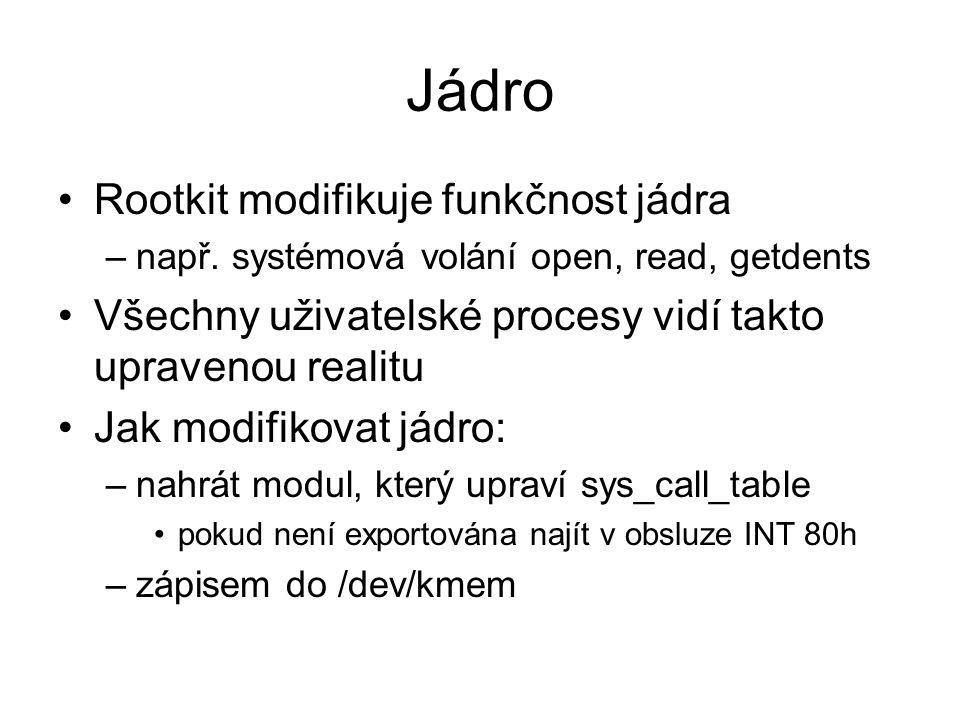 Jádro Rootkit modifikuje funkčnost jádra –např.
