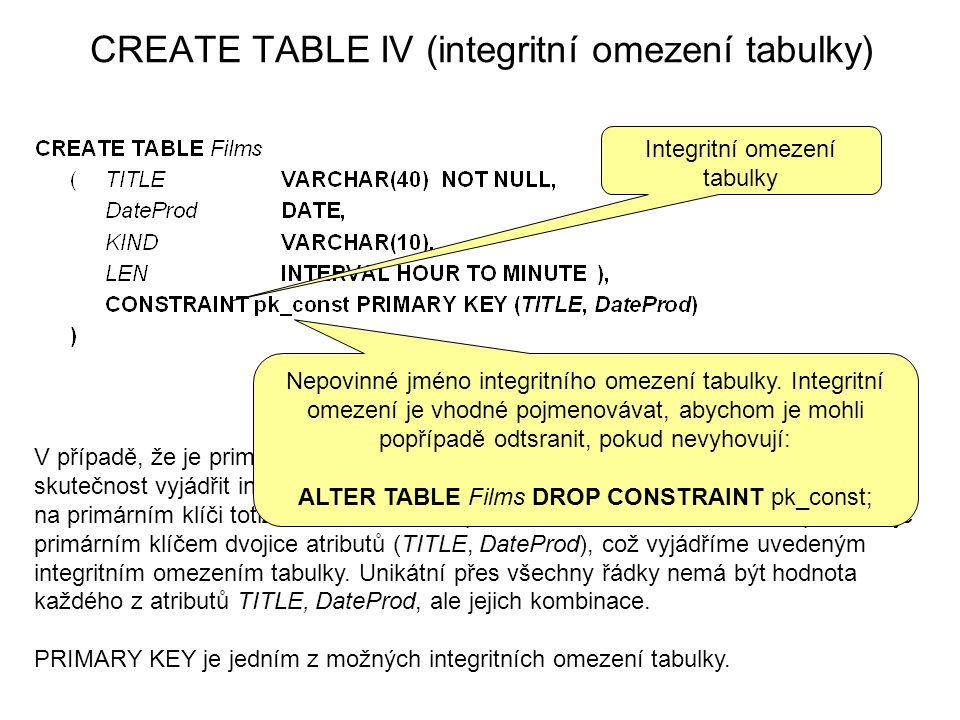 CREATE TABLE IV (integritní omezení tabulky) Integritní omezení tabulky V případě, že je primární klíč tvořen dvojicí, trojicí,...