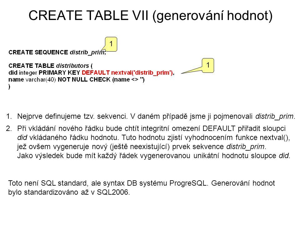 CREATE TABLE VII (generování hodnot) 1.Nejprve definujeme tzv.