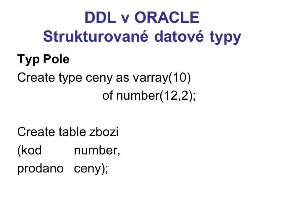 SQL: DML v ORACLE DELETE [FROM] { Jméno_tabulky  Jméno_pohledu } [alias_jméno] [WHERE podmínka] INSERT INTO { Jméno_tabulky  Jméno_pohledu } [(atribut [,atribut]...)] { VALUES (výraz[,výraz]...)   subquery }