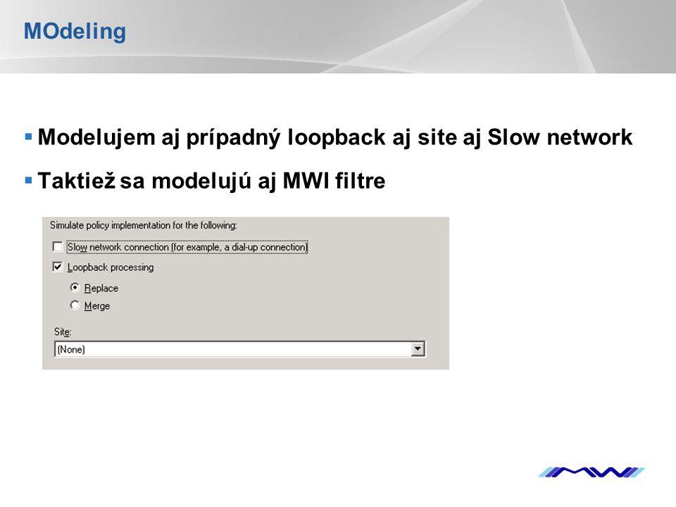 YOUR LOGO MOdeling  Modelujem aj prípadný loopback aj site aj Slow network  Taktiež sa modelujú aj MWI filtre