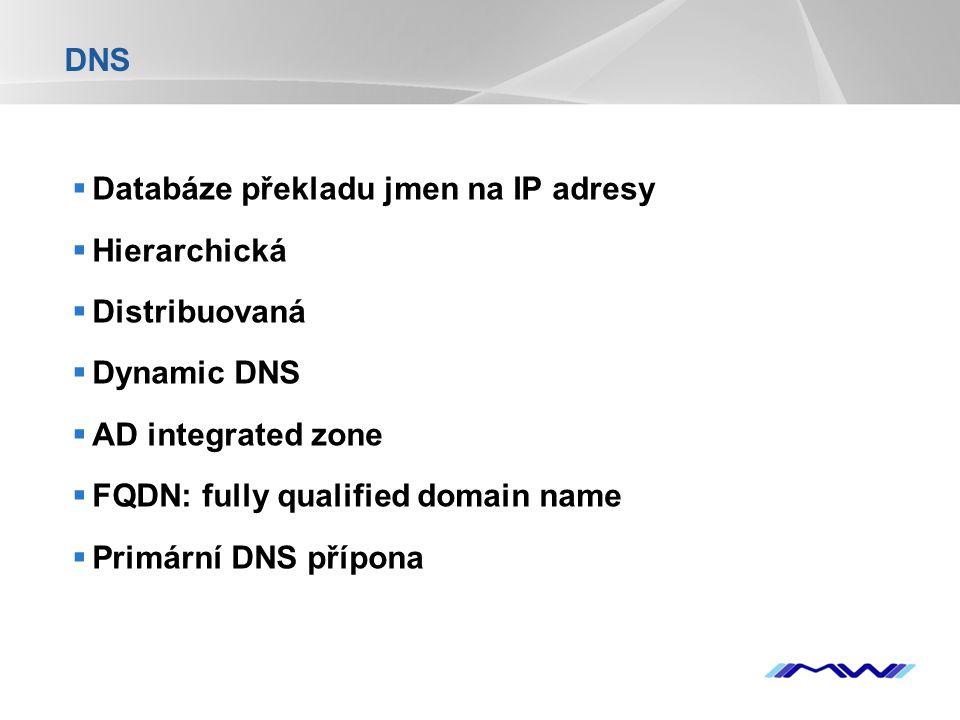 YOUR LOGO DNS  Databáze překladu jmen na IP adresy  Hierarchická  Distribuovaná  Dynamic DNS  AD integrated zone  FQDN: fully qualified domain n