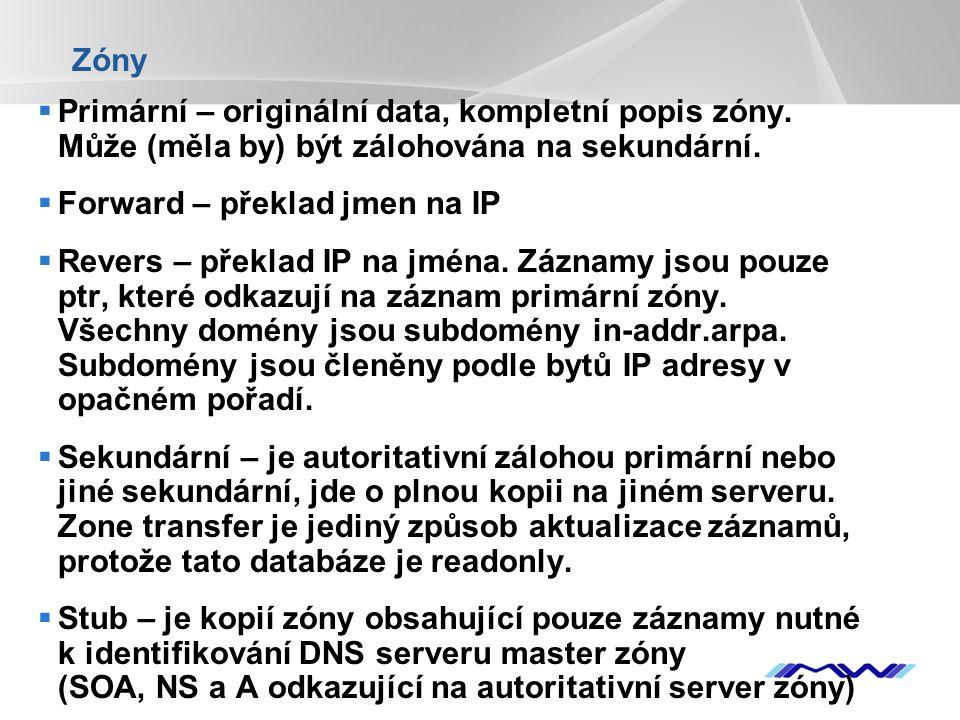 YOUR LOGO Zóny  Primární – originální data, kompletní popis zóny. Může (měla by) být zálohována na sekundární.  Forward – překlad jmen na IP  Rever