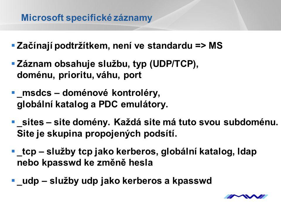 YOUR LOGO Microsoft specifické záznamy  Začínají podtržítkem, není ve standardu => MS  Záznam obsahuje službu, typ (UDP/TCP), doménu, prioritu, váhu