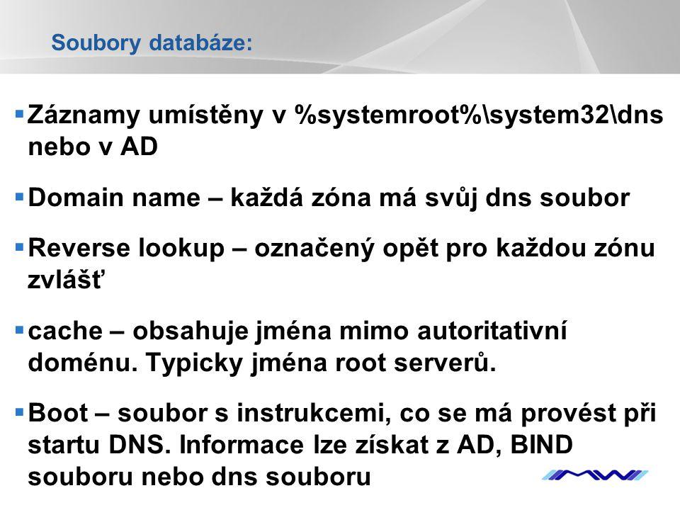 YOUR LOGO Soubory databáze:  Záznamy umístěny v %systemroot%\system32\dns nebo v AD  Domain name – každá zóna má svůj dns soubor  Reverse lookup –