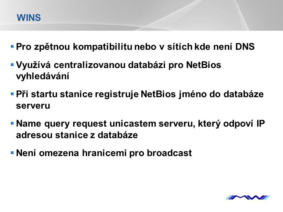 YOUR LOGO WINS  Pro zpětnou kompatibilitu nebo v sítích kde není DNS  Využívá centralizovanou databázi pro NetBios vyhledávání  Při startu stanice