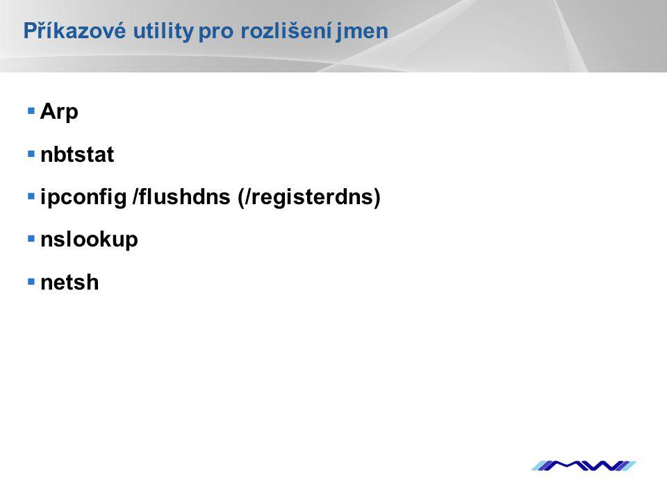 YOUR LOGO Příkazové utility pro rozlišení jmen  Arp  nbtstat  ipconfig /flushdns (/registerdns)  nslookup  netsh
