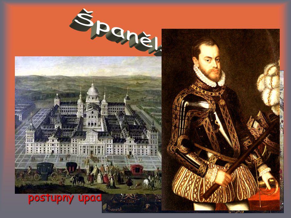 """největší evropská velmoc (""""zlatý věk ) bohatství plynoucí z kolonií vysoké výdaje panovnického dvora hospodářský rozvrat silný vliv inkvizice (autodafé) oFoFilip II."""