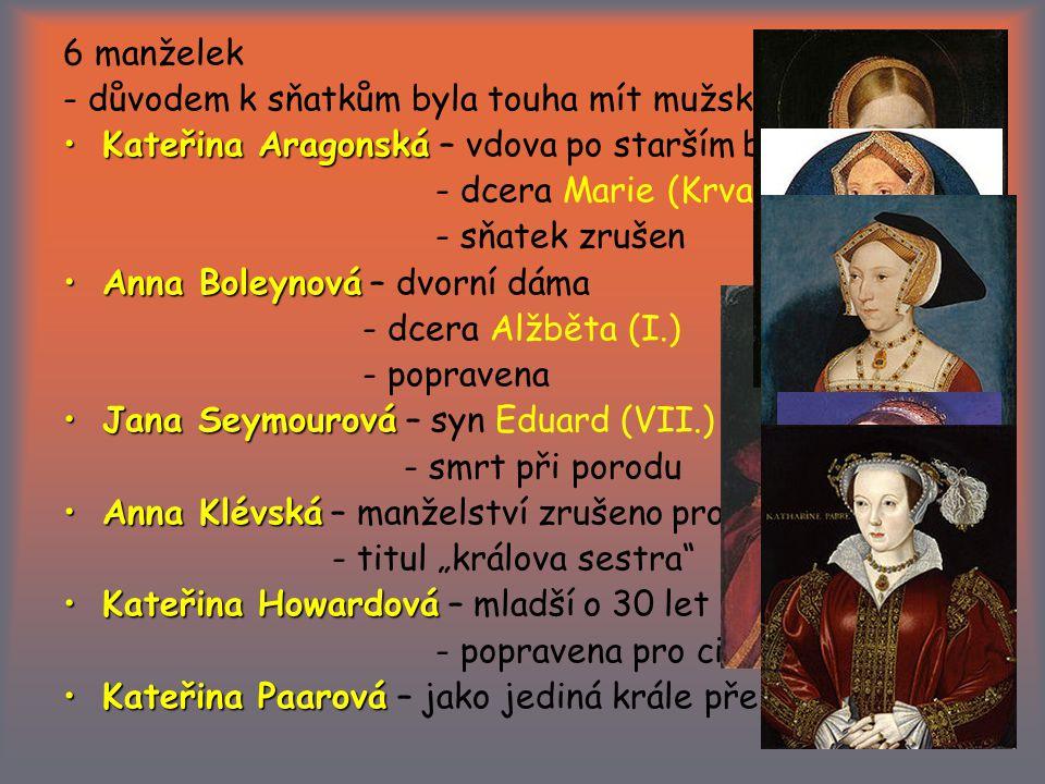 """6 manželek - důvodem k sňatkům byla touha mít mužského potomka Kateřina AragonskáKateřina Aragonská – vdova po starším bratrovi - dcera Marie (Krvavá) - sňatek zrušen Anna BoleynováAnna Boleynová – dvorní dáma - dcera Alžběta (I.) - popravena Jana SeymourováJana Seymourová – syn Eduard (VII.) - smrt při porodu Anna KlévskáAnna Klévská – manželství zrušeno pro """"nenaplněnost - titul """"králova sestra Kateřina HowardováKateřina Howardová – mladší o 30 let - popravena pro cizoložství Kateřina PaarováKateřina Paarová – jako jediná krále přežila"""
