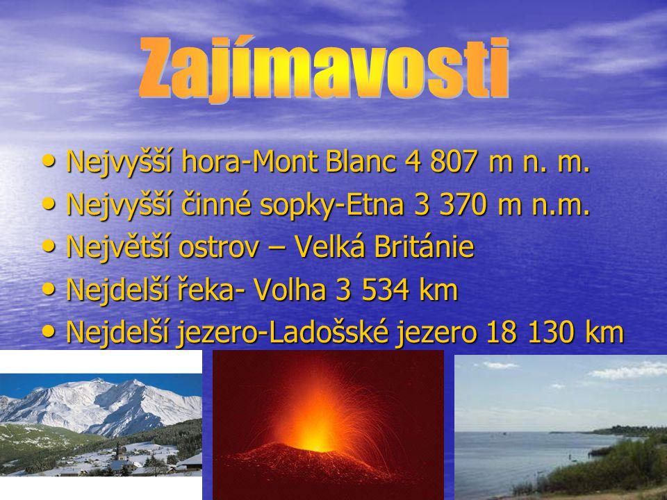 Nejvyšší hora-Mont Blanc 4 807 m n. m. Nejvyšší hora-Mont Blanc 4 807 m n. m. Nejvyšší činné sopky-Etna 3 370 m n.m. Nejvyšší činné sopky-Etna 3 370 m