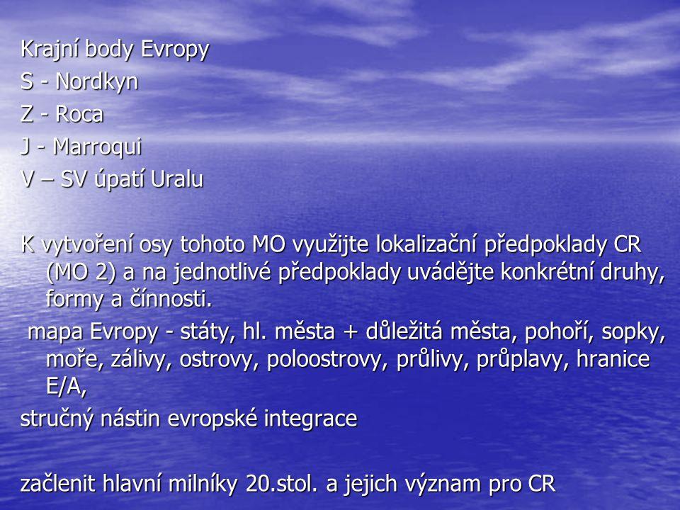 Krajní body Evropy S - Nordkyn Z - Roca J - Marroqui V – SV úpatí Uralu K vytvoření osy tohoto MO využijte lokalizační předpoklady CR (MO 2) a na jedn