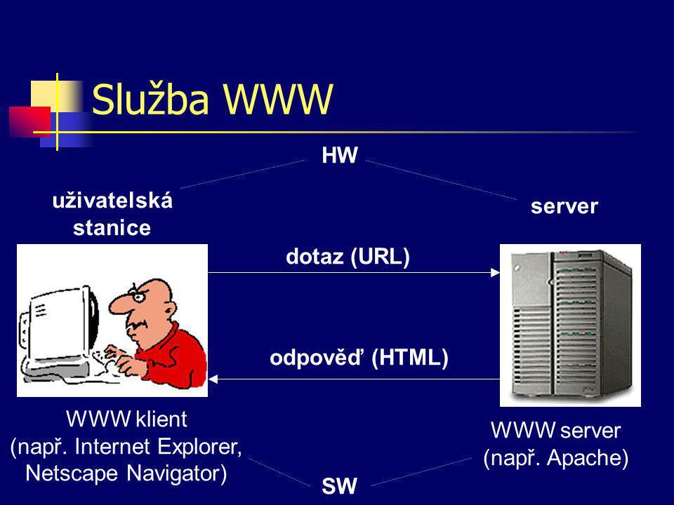 Uniform Resource Locator URL – jednoznačný popis zdroje v Internetu Obecný tvar protokol://uživatel@server/ soubor?dotaz#fragment Příklady –ftp://ftp.mendelu.cz –http://is.mendelu.cz/lide.pl?id=1 –file:///C:/adresare/soubory/muj.txt –mailto:franta@email.cz –http://192.178.78.10/cgi/start.cgi