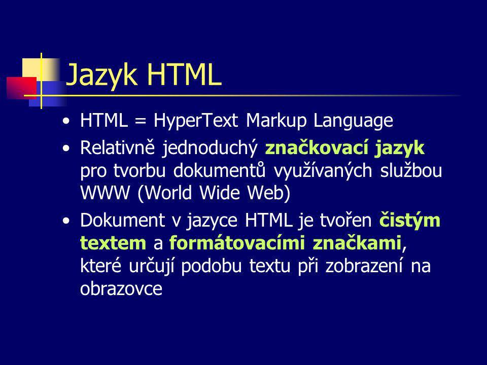 Vlastnosti HTML Libovolný počet mezer a prázdných řádků se chápe jako jedna mezislovní mezera (analogie například s T E Xem) Dokument v jazyce HTML je čistě textový soubor – nemůže tedy být napaden virem K pořízení dokumentu v HTML lze využít libovolný editor, který umožňuje ukládat čistý text