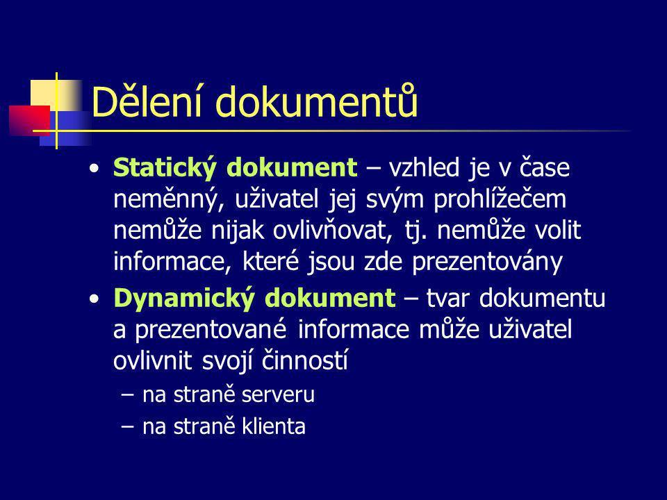Struktura HTML dokumentu Odkaz na definiční soubor Značka pro HTML dokument Záhlaví dokumentu (neviditelná část) Tělo dokumentu (viditelná část)