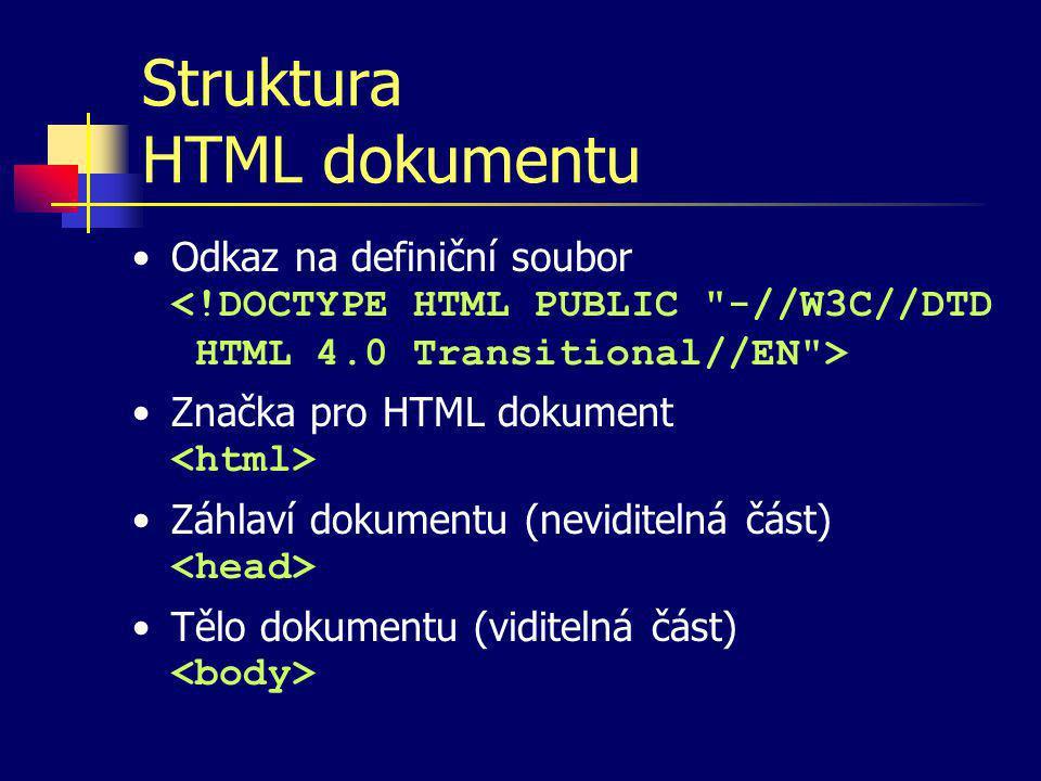 Značky v HTML Příkazy pro prohlížeč, kterými se popisuje úprava nebo struktura části dokumentu K popisu určitých vlastností nebo zaznamenání určitých informací slouží parametry značek Syntax –značka –značka s parametrem –značka s parametrem vyjadřujícím stavovou informaci