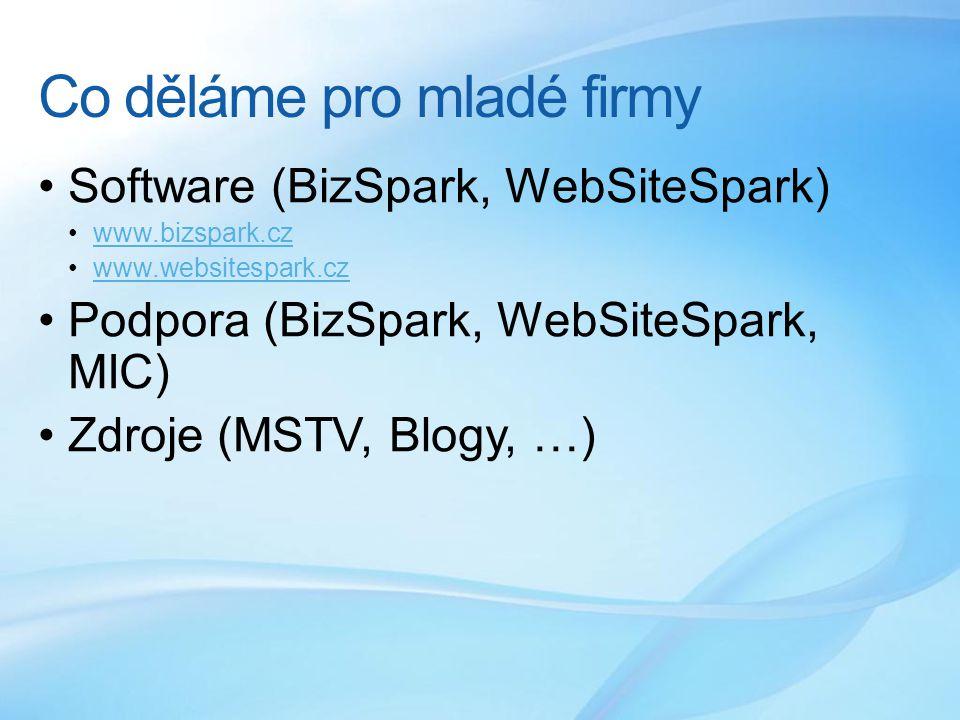 Co děláme pro mladé firmy Software (BizSpark, WebSiteSpark) www.bizspark.cz www.websitespark.cz Podpora (BizSpark, WebSiteSpark, MIC) Zdroje (MSTV, Blogy, …)