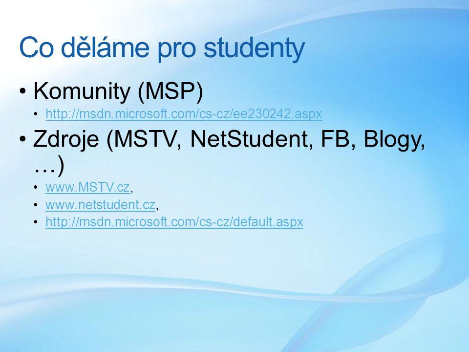 Co děláme pro studenty Komunity (MSP) http://msdn.microsoft.com/cs-cz/ee230242.aspx Zdroje (MSTV, NetStudent, FB, Blogy, …) www.MSTV.cz,www.MSTV.cz www.netstudent.cz,www.netstudent.cz http://msdn.microsoft.com/cs-cz/default.aspx