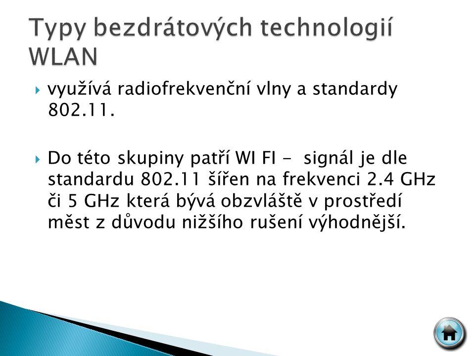  využívá radiofrekvenční vlny a standardy 802.11.