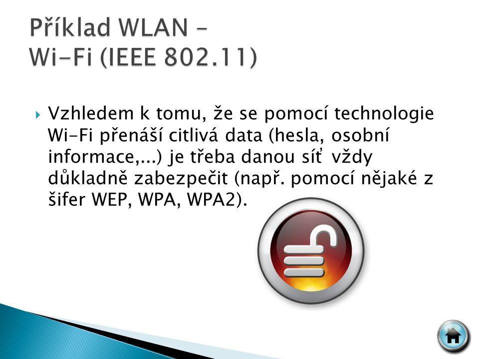  Vzhledem k tomu, že se pomocí technologie Wi-Fi přenáší citlivá data (hesla, osobní informace,...) je třeba danou síť vždy důkladně zabezpečit (např.