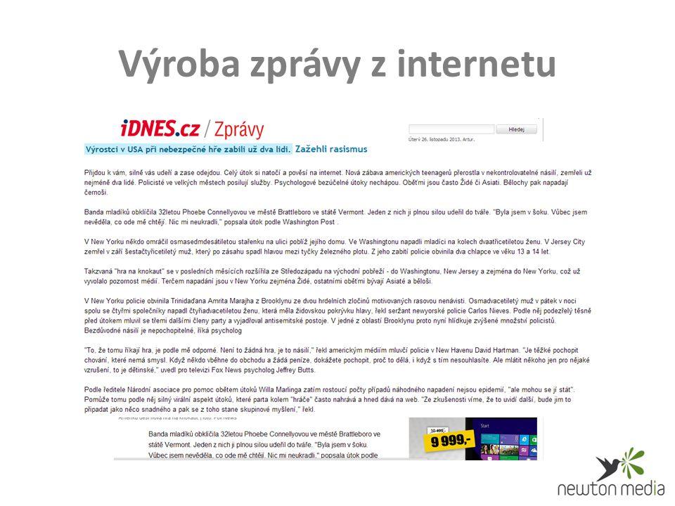Výroba zprávy z internetu