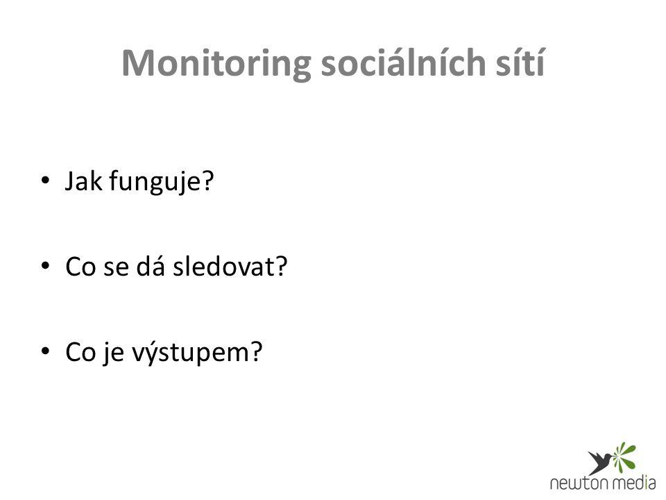 Monitoring sociálních sítí Jak funguje Co se dá sledovat Co je výstupem