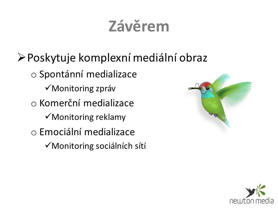 Závěrem  Poskytuje komplexní mediální obraz o Spontánní medializace Monitoring zpráv o Komerční medializace Monitoring reklamy o Emociální medializace Monitoring sociálních sítí