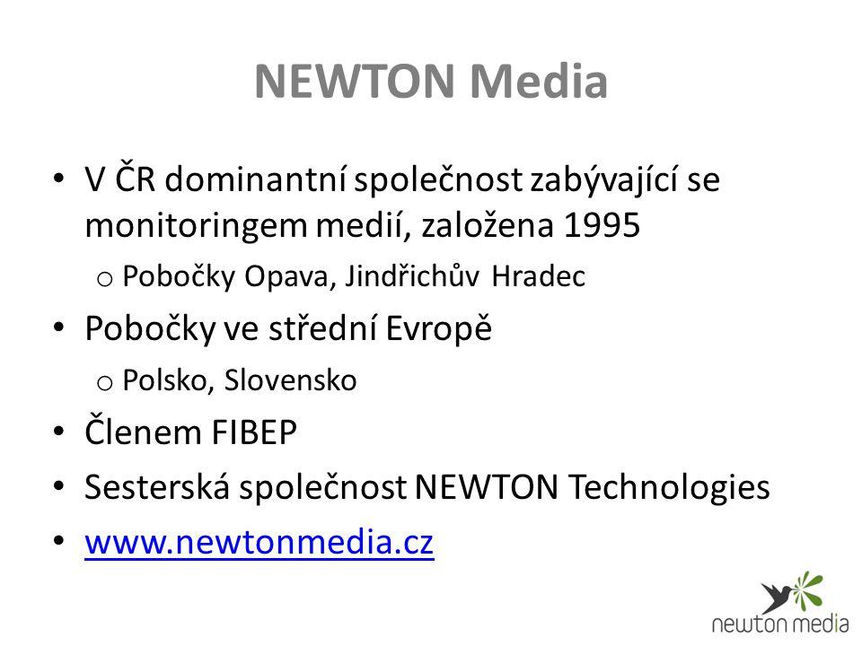 NEWTON Media V ČR dominantní společnost zabývající se monitoringem medií, založena 1995 o Pobočky Opava, Jindřichův Hradec Pobočky ve střední Evropě o Polsko, Slovensko Členem FIBEP Sesterská společnost NEWTON Technologies www.newtonmedia.cz