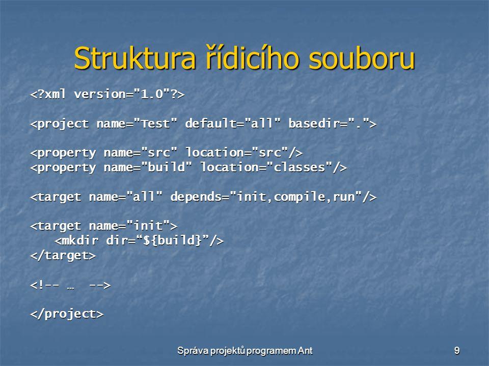 Správa projektů programem Ant9 Struktura řídicího souboru </target> </project>
