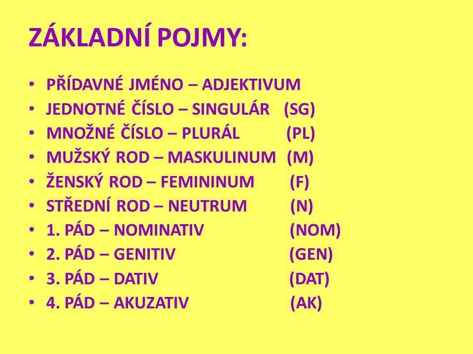 Při skloňování přídavných jmen vycházíme ze znalosti skloňování podstatných jmen.