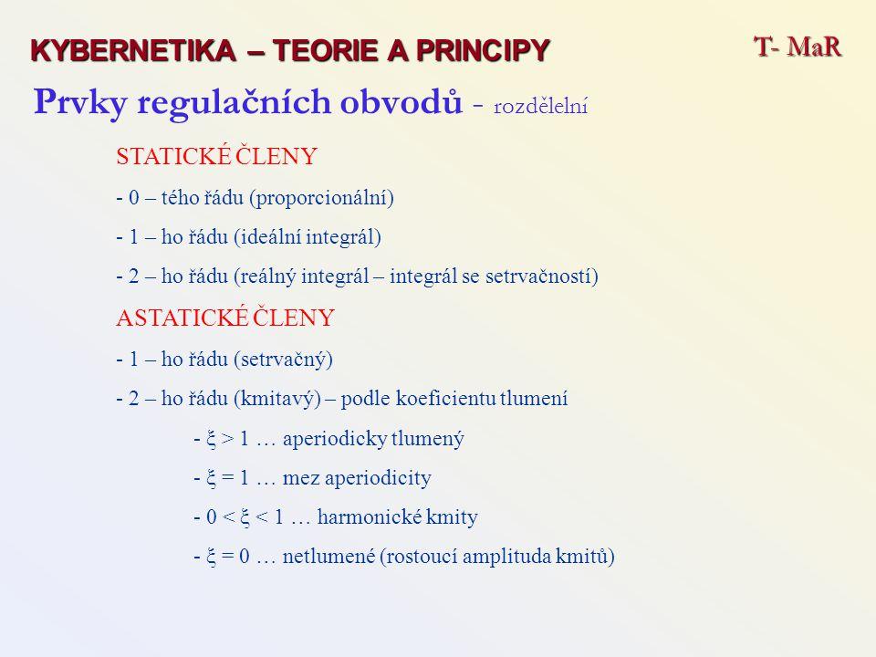 Prvky regulačních obvodů - rozdělelní STATICKÉ ČLENY - 0 – tého řádu (proporcionální) - 1 – ho řádu (ideální integrál) - 2 – ho řádu (reálný integrál