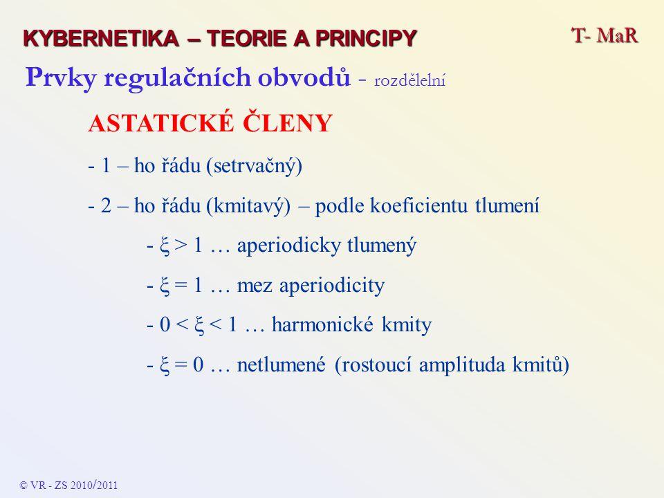 Prvky regulačních obvodů - rozdělelní ASTATICKÉ ČLENY - 1 – ho řádu (setrvačný) - 2 – ho řádu (kmitavý) – podle koeficientu tlumení - ξ > 1 … aperiodi