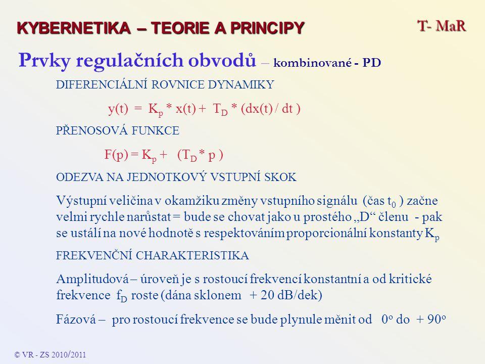 Prvky regulačních obvodů – kombinované - PD DIFERENCIÁLNÍ ROVNICE DYNAMIKY y(t) = K p * x(t) + T D * (dx(t) / dt ) PŘENOSOVÁ FUNKCE F(p) = K p + (T D