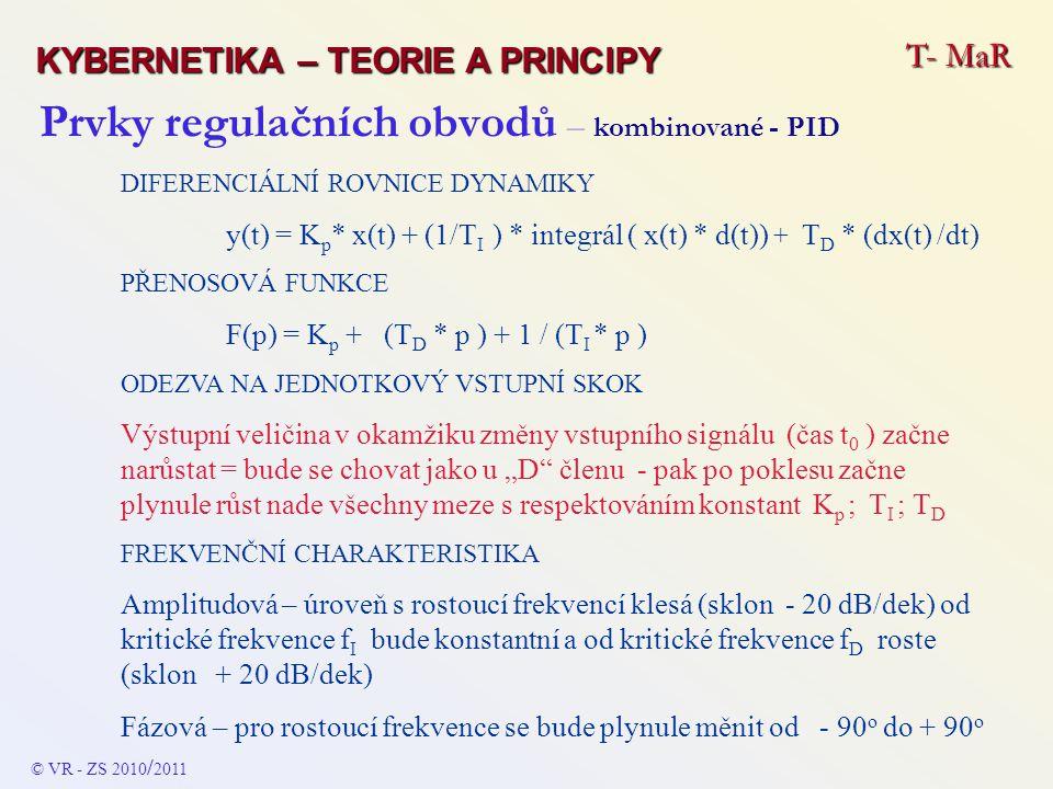 Prvky regulačních obvodů – kombinované - PID DIFERENCIÁLNÍ ROVNICE DYNAMIKY y(t) = K p * x(t) + (1/T I ) * integrál ( x(t) * d(t)) + T D * (dx(t) /dt)