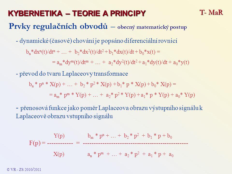 Prvky regulačních obvodů - kombinované - PI DIFERENCIÁLNÍ ROVNICE DYNAMIKY y(t) = K p * x(t) + (1 / T I ) * integrál ( x(t) * d(t) ) PŘENOSOVÁ FUNKCE F(p) = K p + 1 / (T I * p ) = ( K p * T I * p + 1 ) / T I * p ODEZVA NA JEDNOTKOVÝ VSTUPNÍ SKOK Výstupní veličina v okamžiku změny vstupního signálu (čas t 0 ) začne postupně (pozvolna) narůstat – časový průběh (tvar změny) a rychlost nárůstu závisí na hodnotách konstant K p a T I - s růstem času bude na- růstat nade všechny meze FREKVENČNÍ CHARAKTERISTIKA Amplitudová – úroveň s rostoucí frekvencí klesá (sklon - 20 dB/dek) a od kritické frekvence f I je konstantní Fázová – pro rostoucí frekvence se bude plynule měnit od - 90 o do 0 o T- MaR KYBERNETIKA – TEORIE A PRINCIPY © VR - ZS 2010 / 2011