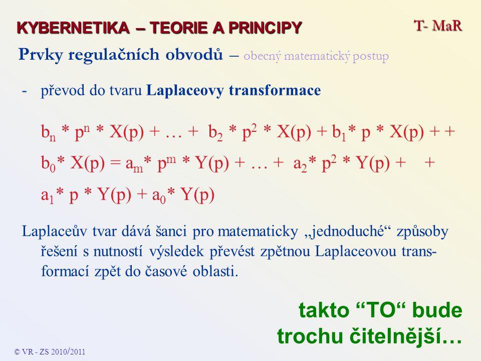 Prvky regulačních obvodů – obecný matematický postup - přenosová funkce jako poměr Laplaceova obrazu výstupního signálu k Laplaceově obrazu vstupního signálu F(p ) = ------------ = ------------------------------------------ Y(p) b m * p n + … + b 2 * p 2 + b 1 * p + b 0 X(p) a n * p m + … + a 2 * p 2 + a 1 * p + a 0 T- MaR KYBERNETIKA – TEORIE A PRINCIPY © VR - ZS 2010 / 2011 takto TO bude trochu čitelnější…