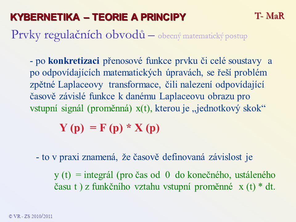 Prvky regulačních obvodů - rozdělelní Základní rozdělení je na : - STATICKÉ ČLENY - ASTATICKÉ ČLENY T- MaR KYBERNETIKA – TEORIE A PRINCIPY © VR - ZS 2010 / 2011