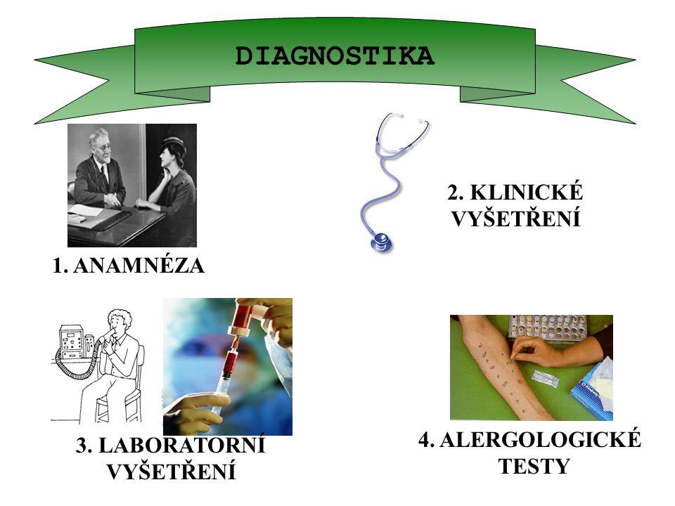 DIAGNOSTIKA 1. ANAMNÉZA 3. LABORATORNÍ VYŠETŘENÍ 2. KLINICKÉ VYŠETŘENÍ 4. ALERGOLOGICKÉ TESTY