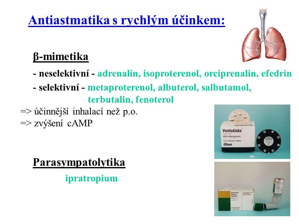 theofylin - inhibice fosfodiesterázy, vliv na adenosinové receptory A 2 => bronchodilatace => prevence bronchokonstrikce vyvolané histaminem, cholinergními agonisty (metacholin) či námahou.