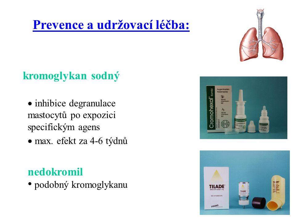  inhibice degranulace mastocytů po expozici specifickým agens  max. efekt za 4-6 týdnů Prevence a udržovací léčba: kromoglykan sodný nedokromil podo