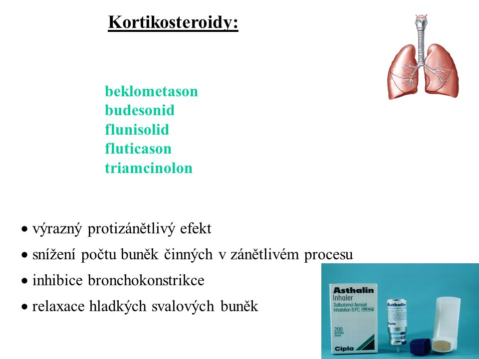 Kortikosteroidy: beklometason budesonid flunisolid fluticason triamcinolon  výrazný protizánětlivý efekt  snížení počtu buněk činných v zánětlivém p