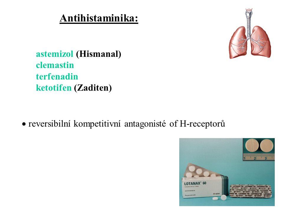 astemizol (Hismanal) clemastin terfenadin ketotifen (Zaditen)  reversibilní kompetitivní antagonisté of H-receptorů Antihistaminika: