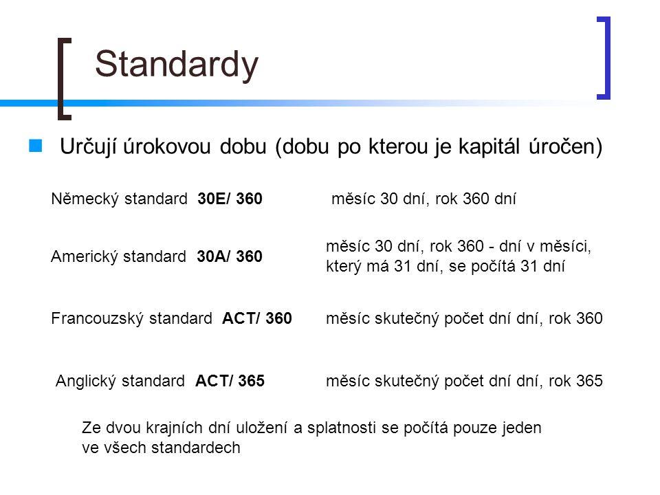 Standardy Určují úrokovou dobu (dobu po kterou je kapitál úročen) Německý standard 30E/ 360měsíc 30 dní, rok 360 dní Americký standard 30A/ 360 měsíc 30 dní, rok 360 - dní v měsíci, který má 31 dní, se počítá 31 dní Francouzský standard ACT/ 360 měsíc skutečný počet dní dní, rok 360 Anglický standard ACT/ 365 měsíc skutečný počet dní dní, rok 365 Ze dvou krajních dní uložení a splatnosti se počítá pouze jeden ve všech standardech